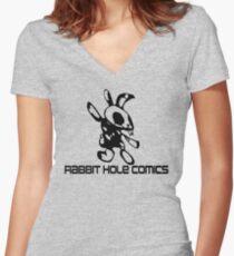 Kaninchen Loch Comics Tailliertes T-Shirt mit V-Ausschnitt