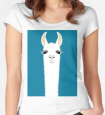 LLAMA PORTRAIT #10 Women's Fitted Scoop T-Shirt