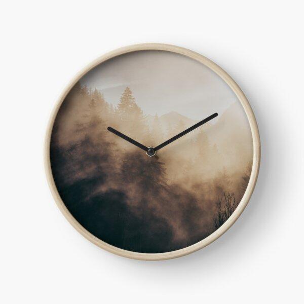 Misty Mountain Trees Clock