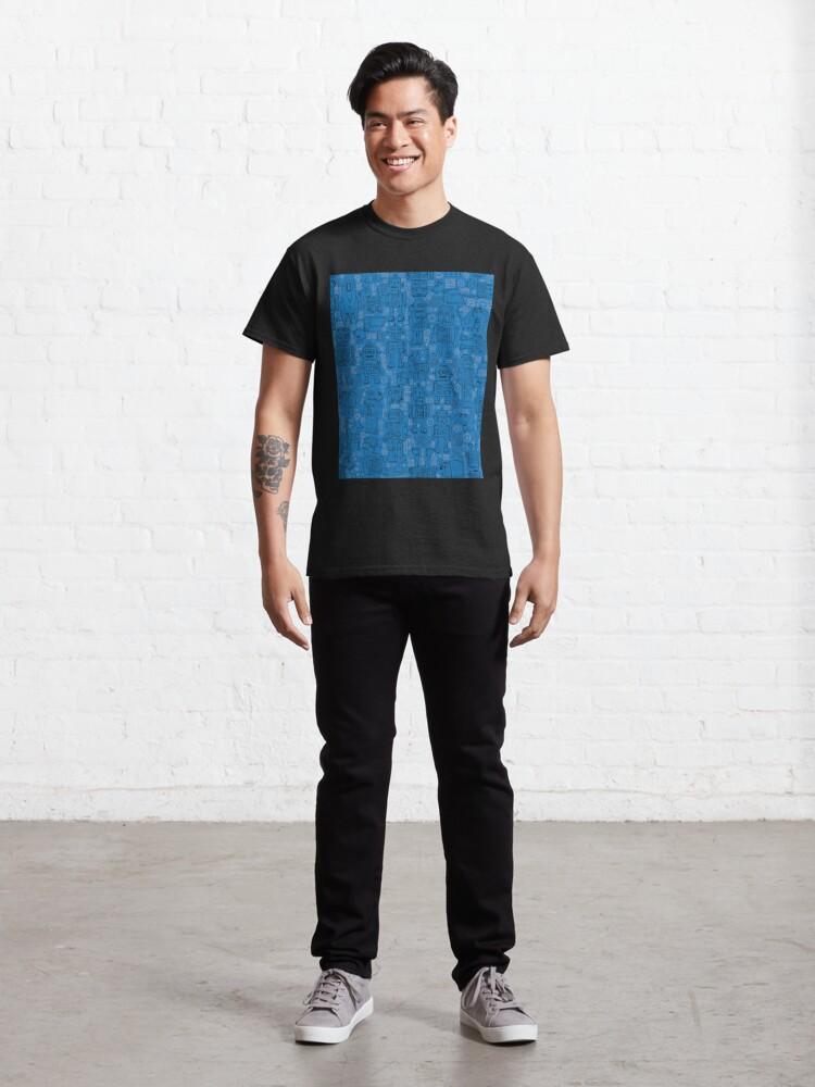 Alternate view of Robot pattern - Blue - fun pattern by Cecca Designs Classic T-Shirt