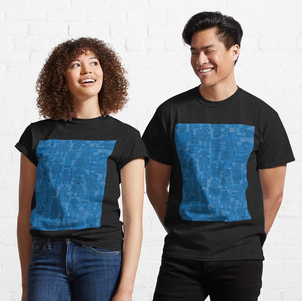 Robot pattern - Blue - fun pattern by Cecca Designs Classic T-Shirt