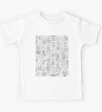 Robot pattern - black and white - fun pattern by Cecca Designs Kids Clothes
