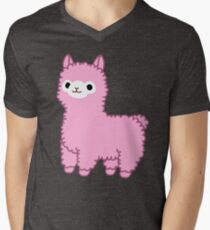 Pink Alpaca Men's V-Neck T-Shirt