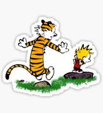calvin hobbes jump Sticker