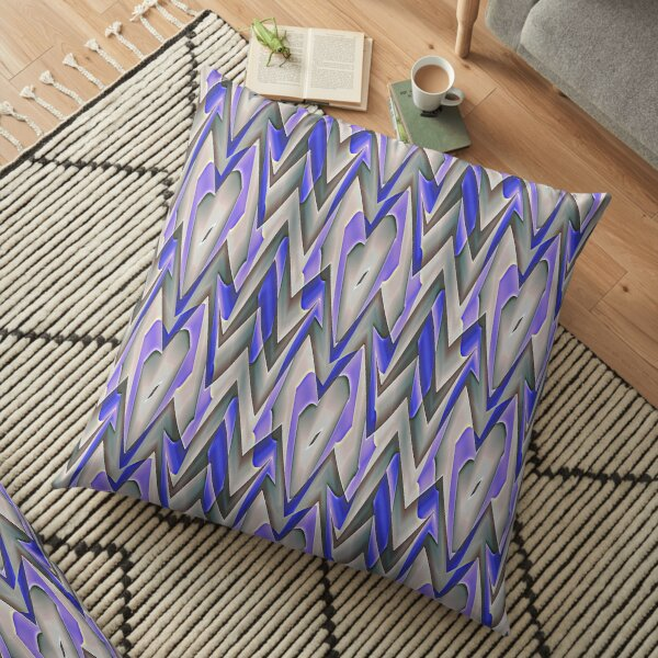 Modern Blue Grey Abstract Pattern Design 2074 Floor Pillow
