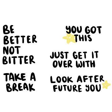 Positivity / Motivation Sticker Sheet - Tipografía de sleepiest