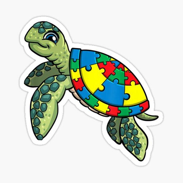 Piezas de rompecabezas de tortuga para la conciencia del autismo, niños, mujeres, maestra, camiseta Pegatina