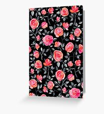 Roses on Black - a watercolor floral pattern Greeting Card