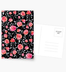 Roses on Black - a watercolor floral pattern Postcards
