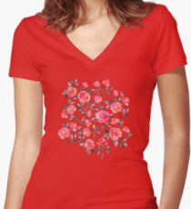 Roses on Black - a watercolor floral pattern Women's Fitted V-Neck T-Shirt