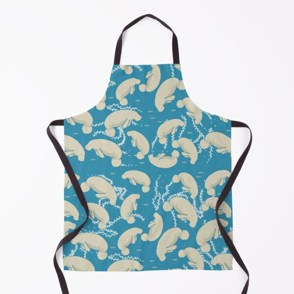 Lamentino the manatee pattern - lots and lots of manatees on teal blue background with yellow fishes and seaweeds  Apron