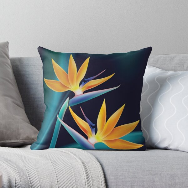 Tropical plant bird of paradise or strelitzia reginae isolated on blur dark blue background vector Throw Pillow