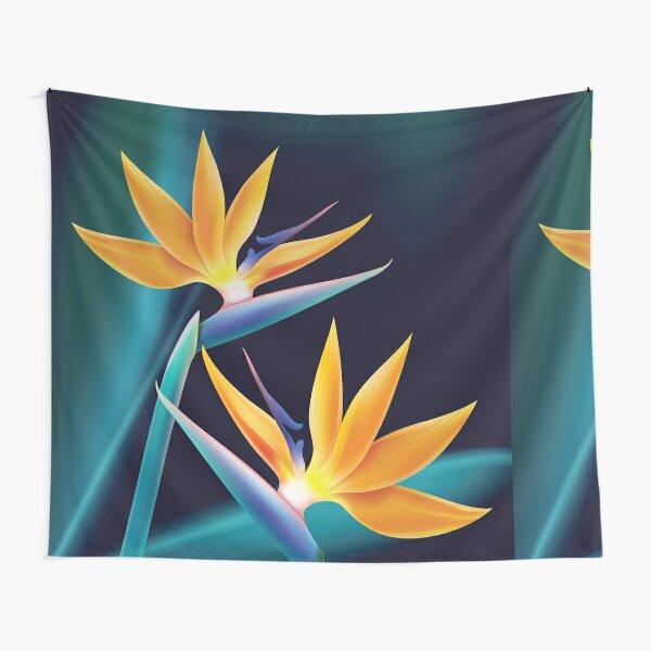 Tropical plant bird of paradise or strelitzia reginae isolated on blur dark blue background vector Tapestry