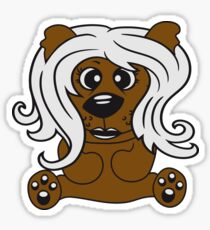 girls, women, female long hair nice pretty sitting Teddy comic cartoon sweet cute Sticker