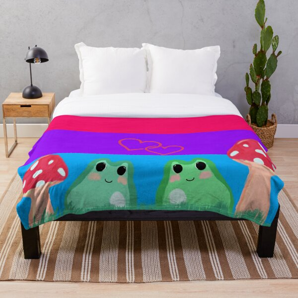 Bi pride flag with frogs and mushrooms Throw Blanket