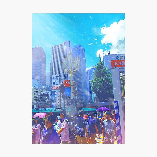 People in Tokyo city, Japan with anime style Photographic Print