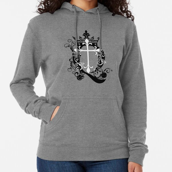 Cross Q Crown in Black Lightweight Hoodie