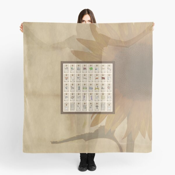 Sunflower Lenormand Grand Tableau Reading Cloth Scarf