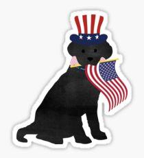 Preppy Patriotic Black Lab Sticker