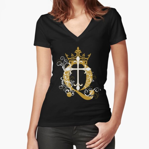 Cross Q Crown in Gold Fitted V-Neck T-Shirt
