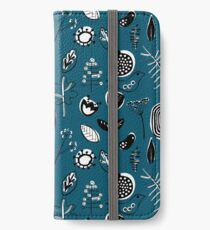 Floral doodle seamless nature pattern print on blue iPhone Wallet/Case/Skin
