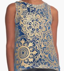 Blue and Gold Mandala Pattern Contrast Tank