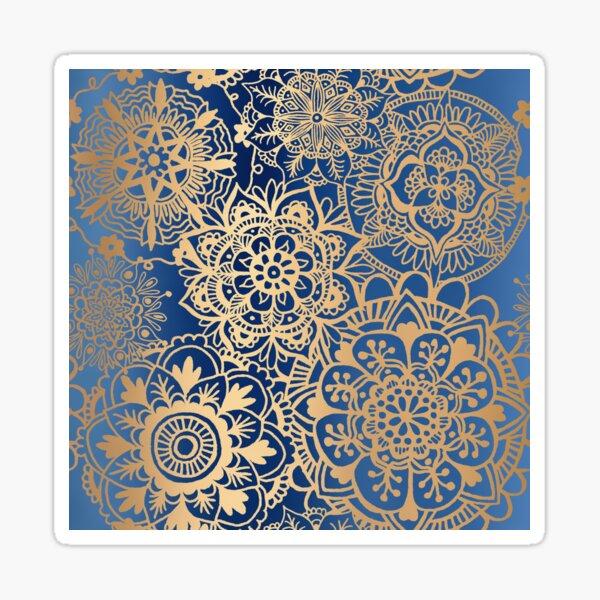 Blue and Gold Mandala Pattern Sticker