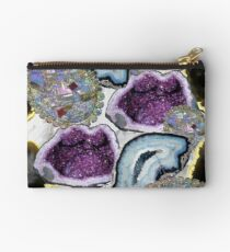 Geode Crystal Semi Precious Stones Marble Purple Blue Studio Pouch