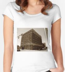 Burlington, North Carolina - Main Street Women's Fitted Scoop T-Shirt