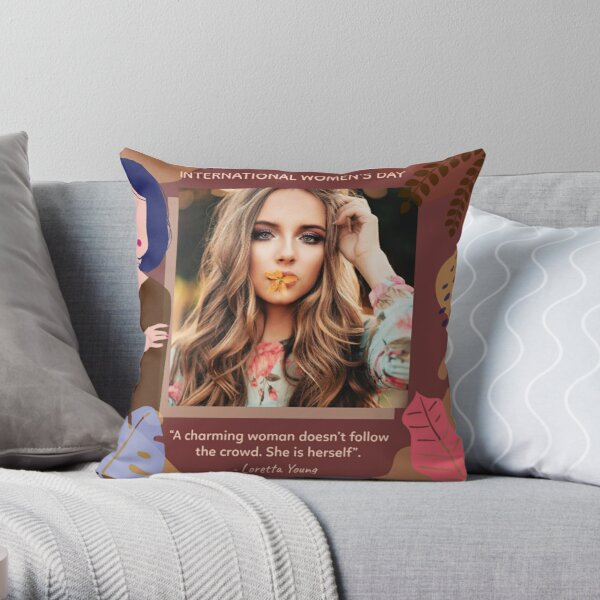 International Women's Day Flower Power Throw Pillow