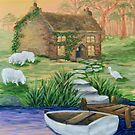 Country Cottage Row Boat by L.W. Turek
