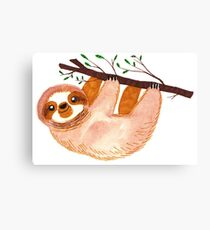 Kawaii Sloth Watercolor Canvas Print