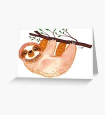 Kawaii Sloth Watercolor Greeting Card