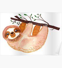 Kawaii Sloth Watercolor Poster