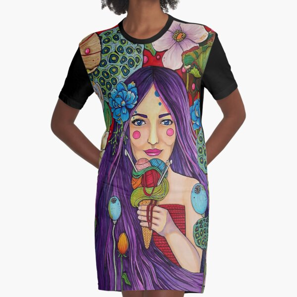 Yarn in every flavor Graphic T-Shirt Dress