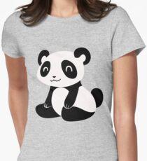 Happy Cartoon Panda Womens Fitted T-Shirt