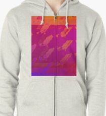 Fuchsia Abstract Zipped Hoodie