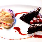 Chocolate Brownies with Cherry Icecream by ©The Creative  Minds