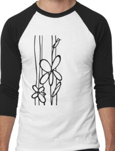 Black & White Flowers Men's Baseball ¾ T-Shirt