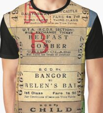 1950S-60S BELFAST & COUNTY DOWN RAILWAY TICKET CUSHION 2 Graphic T-Shirt