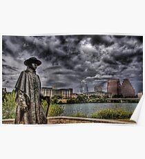Steve Ray Vaughan statue, Austin, Texas Poster