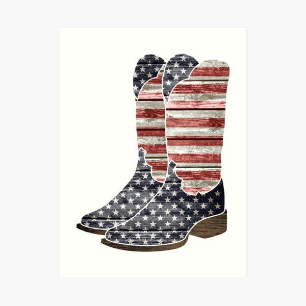 Patriotic Cowboy Boots Art Print