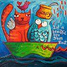 In a beautiful pea green boat by Sara Catena