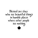 """Blessed are they who see beautiful things in humble places where other people see nothing"" - quote  by VisionQuestArts"