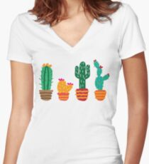 Cactus2 Women's Fitted V-Neck T-Shirt