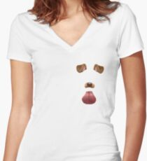 Snapchat dog filter Women's Fitted V-Neck T-Shirt