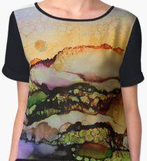 """Molten Mountain Dreams"" - Colorful Unique Original Artist's Landscape! Women's Chiffon Top"