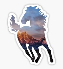 Wild Mustang Horse and Rocky Mountains Silhouette  Sticker