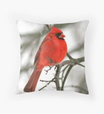Winter Redbird Throw Pillow