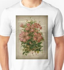 Botanical print, on old book page - flowers- Pink Lily T-Shirt